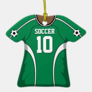 Jersey de fútbol verde blanco personalizado 10 V2 Ornamento De Navidad