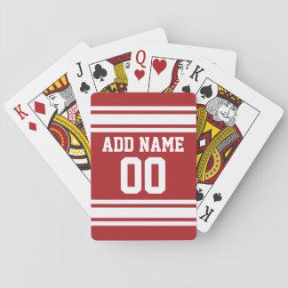Jersey de los deportes con su nombre y número barajas de cartas