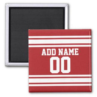 Jersey de los deportes con su nombre y número imán cuadrado