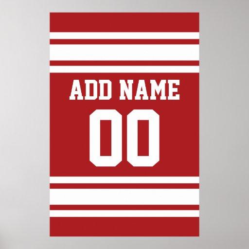 Jersey de los deportes con su nombre y número posters