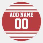 Jersey de los deportes con su nombre y número pegatina