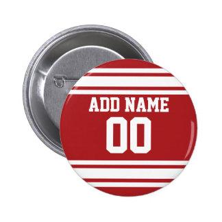 Jersey de los deportes con su nombre y número pin redondo 5 cm