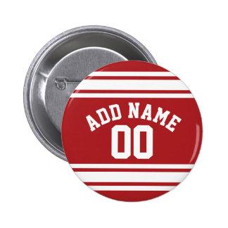 Jersey de los deportes con su nombre y número pin redondo de 2 pulgadas