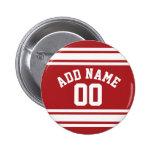 Jersey de los deportes con su nombre y número pins