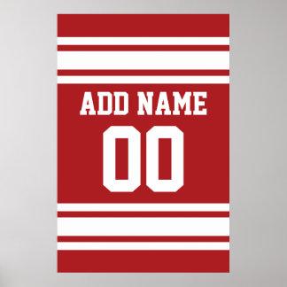 Jersey de los deportes con su nombre y número póster