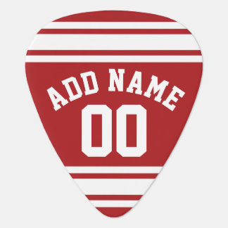 Jersey de los deportes con su nombre y número púa de guitarra