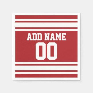 Jersey de los deportes con su nombre y número servilletas desechables