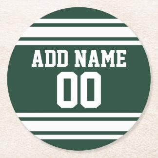 Jersey del fútbol con número conocido de encargo posavasos personalizable redondo