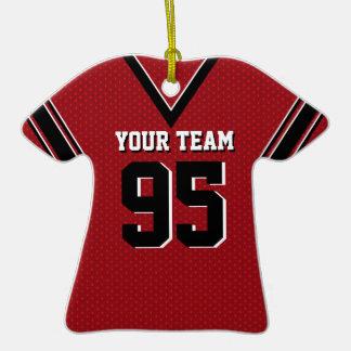 Jersey del fútbol rojo y negro ornatos