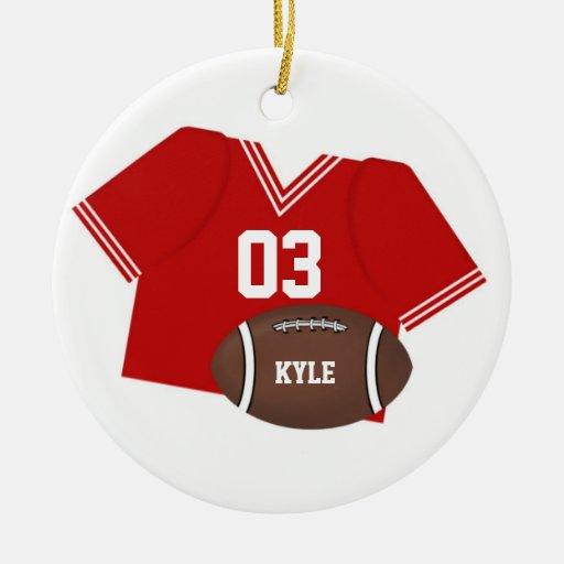 Jersey del fútbol y ornamento rojos del fútbol adorno navideño redondo de cerámica
