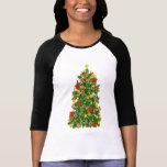 Jersey del raglán del árbol de navidad playera