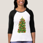 Jersey del raglán del árbol de navidad t shirt