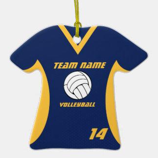 Jersey del voleibol azul y amarillo ornamentos para reyes magos