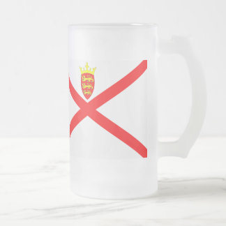 Jersey Flag Frosted Glass Beer Mug