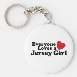 Jersey Girl Basic Round Button Keychain