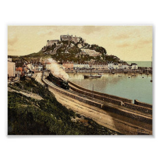 Jersey, Gorey and the castle, Channel Island, Engl Print