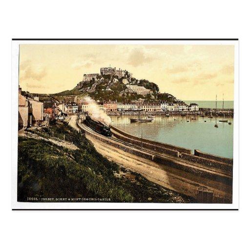 Jersey, Gorey y el castillo, isla de canal, Inglés Tarjetas Postales