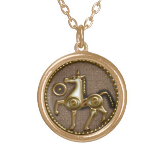 jersey horse gold plated necklace