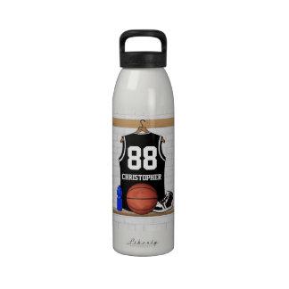 Jersey negro personalizado del baloncesto botella de agua reutilizable