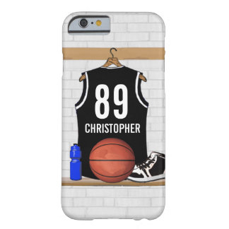 Jersey negro personalizado del baloncesto funda de iPhone 6 barely there