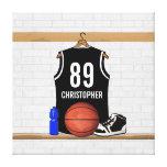 Jersey negro personalizado del baloncesto lona envuelta para galerías
