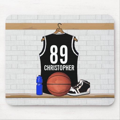 Jersey negro personalizado del baloncesto alfombrilla de ratón