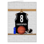 Jersey negro personalizado del baloncesto felicitación