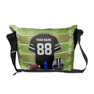 Jersey negro y gris de encargo del fútbol en campo bolsas messenger