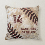 "Jersey Number and Name on Vintage Baseball Pillow<br><div class=""desc"">Awesome Cool Dirty look Personalized Baseball Team Gifts Baseball Throw Pillows with YOUR TEXT. Old looking Rustic Personalized baseball team gift ideas, baseball throw pillows. Personalized baseball team gifts for baseball players, senior night baseball party ideas and your rustic baseball man cave decor. CALL Rodney and Designer Linda to assist...</div>"