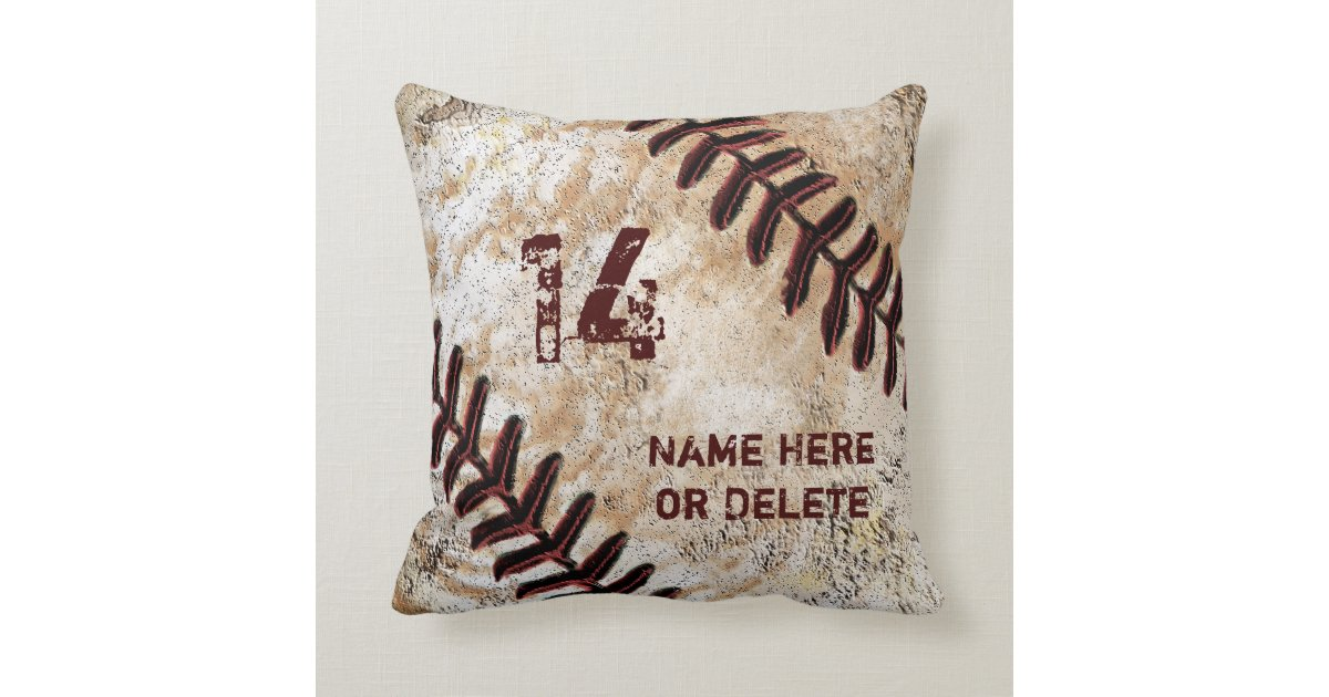 Jersey Number And Name On Vintage Baseball Pillow Zazzle Com