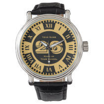 Jersey Number Black and Gold Varsity Colors Wrist Watch