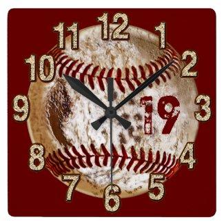 Jersey Number Grunge Baseball Clocks