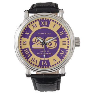 Jersey Number Royal Purple and Gold Varsity Colors Wrist Watch