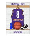 Jersey personalizado del baloncesto de la púrpura invitación 12,7 x 17,8 cm