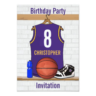 """Jersey personalizado del baloncesto de la púrpura invitación 5"""" x 7"""""""