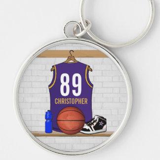 Jersey personalizado del baloncesto de la púrpura llavero redondo plateado