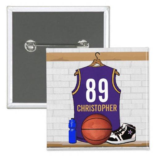 Jersey personalizado del baloncesto de la púrpura pins