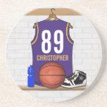 Jersey personalizado del baloncesto de la púrpura posavasos cerveza