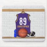Jersey personalizado del baloncesto de la púrpura alfombrilla de ratón