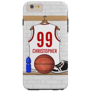 Jersey personalizado del baloncesto (rojo blanco) funda de iPhone 6 plus tough
