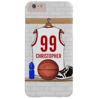 Jersey personalizado del baloncesto (rojo blanco) funda de iPhone 6 plus barely there