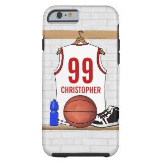 Jersey personalizado del baloncesto (rojo blanco) funda de iPhone 6 tough