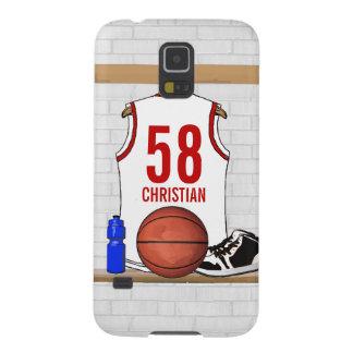 Jersey personalizado del baloncesto (rojo blanco) carcasas para galaxy s5