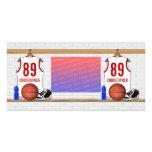 Jersey personalizado del baloncesto (rojo blanco) tarjetas fotográficas personalizadas