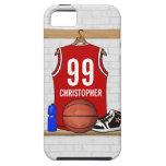 Jersey personalizado del baloncesto (rojo) iPhone 5 Case-Mate protectores