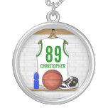 Jersey personalizado del baloncesto (whitegreen) joyerías