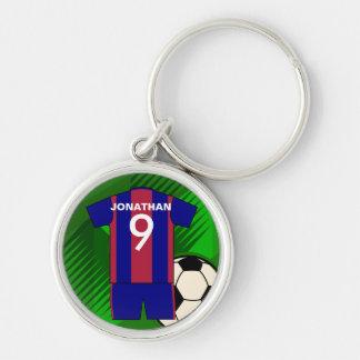 Jersey personalizado del fútbol del fútbol llavero redondo plateado