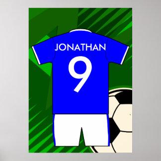 Jersey personalizado del fútbol del fútbol poster