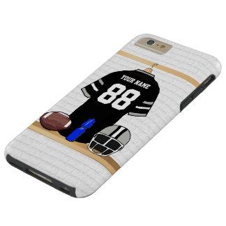 Jersey personalizado del fútbol del negro y de los funda para iPhone 6 plus tough
