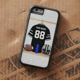 Jersey personalizado del fútbol del negro y de los funda de iPhone 6 tough xtreme